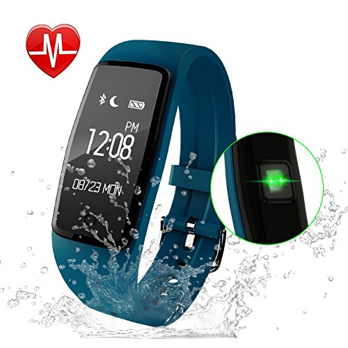 GULAKI Fitness Tracker Watch, Exercise Tracker with Heart Rate Monitor Calorie Counter Pedometer IP67 Waterproof Smart Wristband Bracelet Activity Tracker for Android & IOS (Blue Watch) Exercise Heart