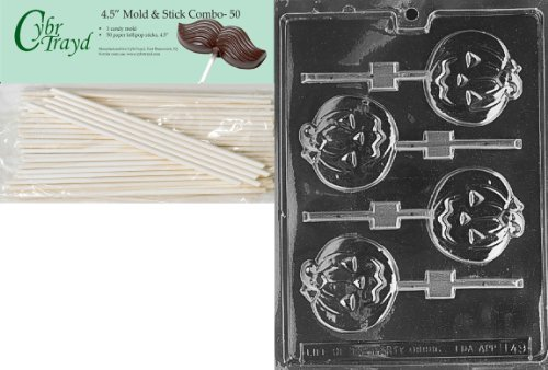 Cybrtrayd 45St50-H049 Medium Flat Pumpkin Lolly Halloween Chocolate Candy Mold with 50 Cybrtrayd 4.5-Inch Lollipop Sticks