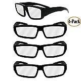 eletecpro Eclipse anteojos 4-Pack de plástico, Eclipse Shades anteojos de seguridad–CE y anteojos de ISO Certified, una talla para todos, mejor. Filtro Solar y visor Negro (4unidades)