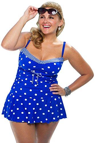 Always For Me Plus Size Polka Dot Daphne Swimdress,Blue/White,24 Plus