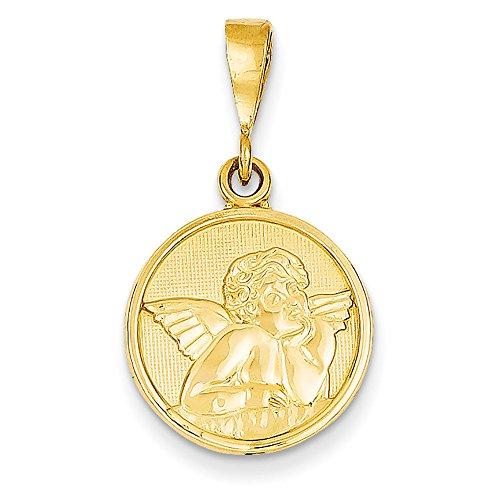 14k Gold Cherub (14k Yellow Gold Satin Raphael Cherub Angel With Hand On Chin Pendant 29x16mm)