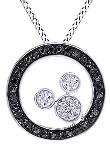 - AFFY Round Cut Mickey Mouse Black & White Natural Diamond 14k White Gold Over Sterling Sliver Circle Pendant (0.23 Ct)