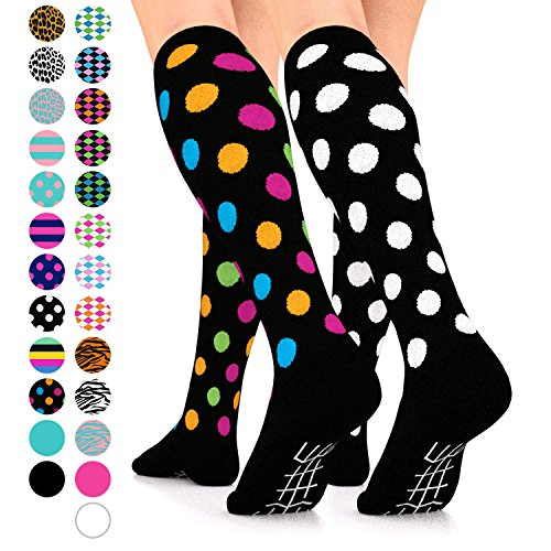 Nurses Stockings (Go2 Fashion Compression Socks for Men & Women 15-20 mmHg Athletic Running Socks for Nurses Travel Medical Graduated Nursing Compression Stocking Sport Sock (Blk/White Polka & Blk Multi Polka, Medium))