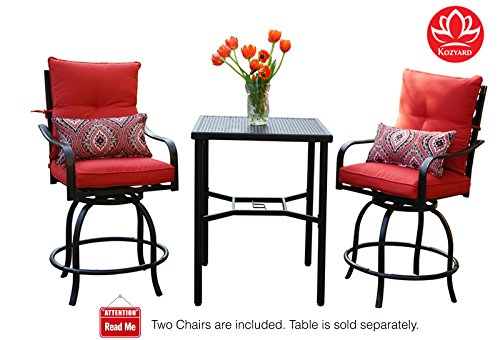 Kozyard Corona 360 Degree Swivel Two Bar Chairs (2 Chairs W/Red seat and back cushions, 2 nice pattern pillows enclosed) (Seat Chair Bar Cushions)