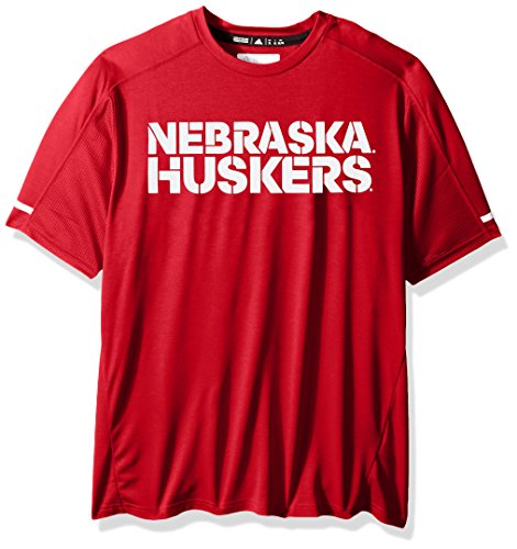 adidas NCAA Nebraska Cornhuskers Adult Men NCAA Sideline Performance Tee, Large, Power Red (Mens Nebraska Cornhuskers Basketball)