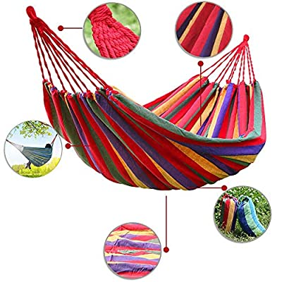 Double Camping Hammock Outdoor, Portable Hanging Rope Swing Hammock for Travel, Beach, Yard, Backyard, Camping: Everything Else