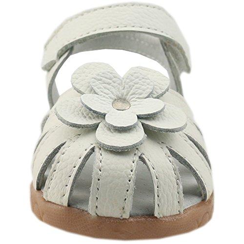 Image of Orgrimmar Girls Genuine Leather Solid Flower Sandals (Toddler, Little Kid)
