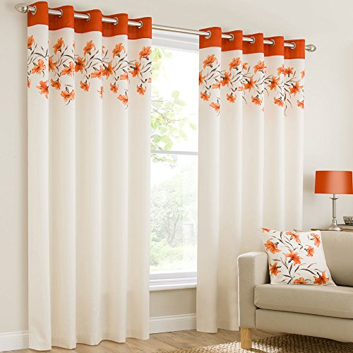 Mirabel Pair Of Lily Floral Lined Window Curtain Panels With Eyelet Grommet Top 66