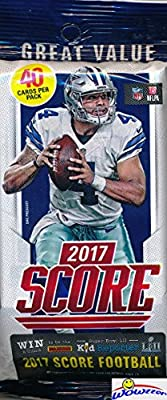 2017 Score NFL Football AWESOME Factory Sealed JUMBO FAT Pack with 40 Cards! Loaded with ROOKIES & EXCLUSIVE Inserts! Look for RC'S & Autographs of Watson, Trubisky, Fournette & Top NFL Picks! WOWZZER
