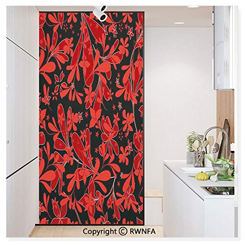 Window Film Door Sticker Glass Film Ethnic Design Oceanic Island Flowers Petals Leaves Nature Art Print Both Suitable for Home and Office, 17.7 x 78.7 inch,Ruby Black White