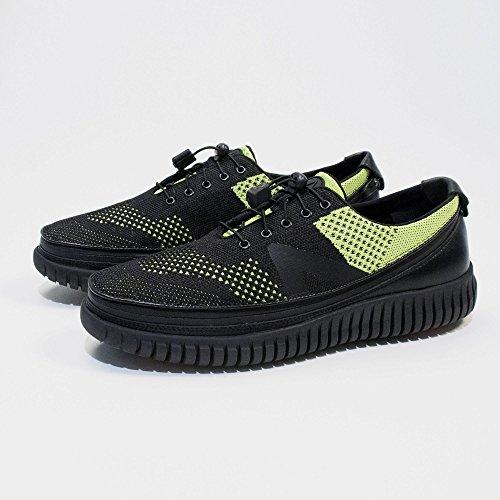 ACBC Scarpa Sneakers con Stringa Knit Suola Nera e Scarpa Nero Giallo con Zip
