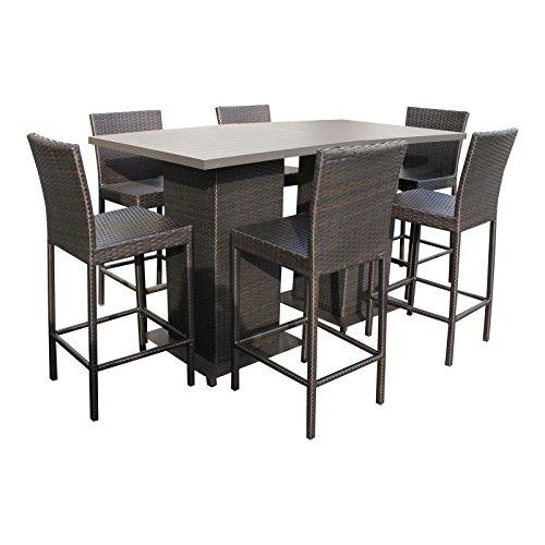TK Classics Pub-WITHBACK-6 Napa Bar Patio Furniture, Espresso ()