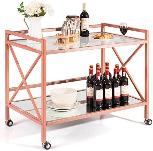 Giantex Bar and Serving Cart 2-Tier, Industrial Modern Wine Tea Cart, Tempered Glass Top Mirrored Bottom, Universal Caster Wheels, Storage Carts for Kitchen Dining Room Commercial Use Rose Gold