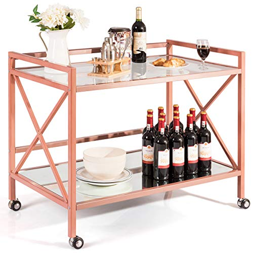 Giantex Bar and Serving Cart 2-Tier, Industrial Modern Wine Tea Cart, Tempered Glass Top Mirrored Bottom, Universal Caster Wheels, Storage Carts for Kitchen Dining Room Commercial Use (Rose Gold)