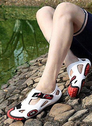 GLTER Hombres Calzado Casual Transpirable Zuecos Verano Playa Zapatos Viajes Zapatos Mocasines Sandalias white red