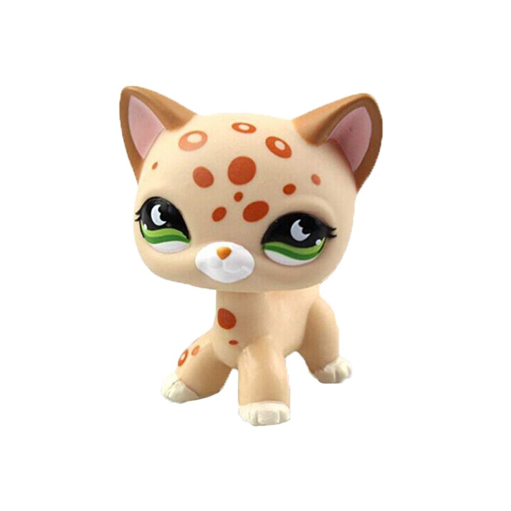 Toys LPS Rare Standing Cat Mask Yellow Short Hair Kitten Cat Animal Figures Collection Kids Child Toys Kids Gift 1pc crossed3_Pet toy store