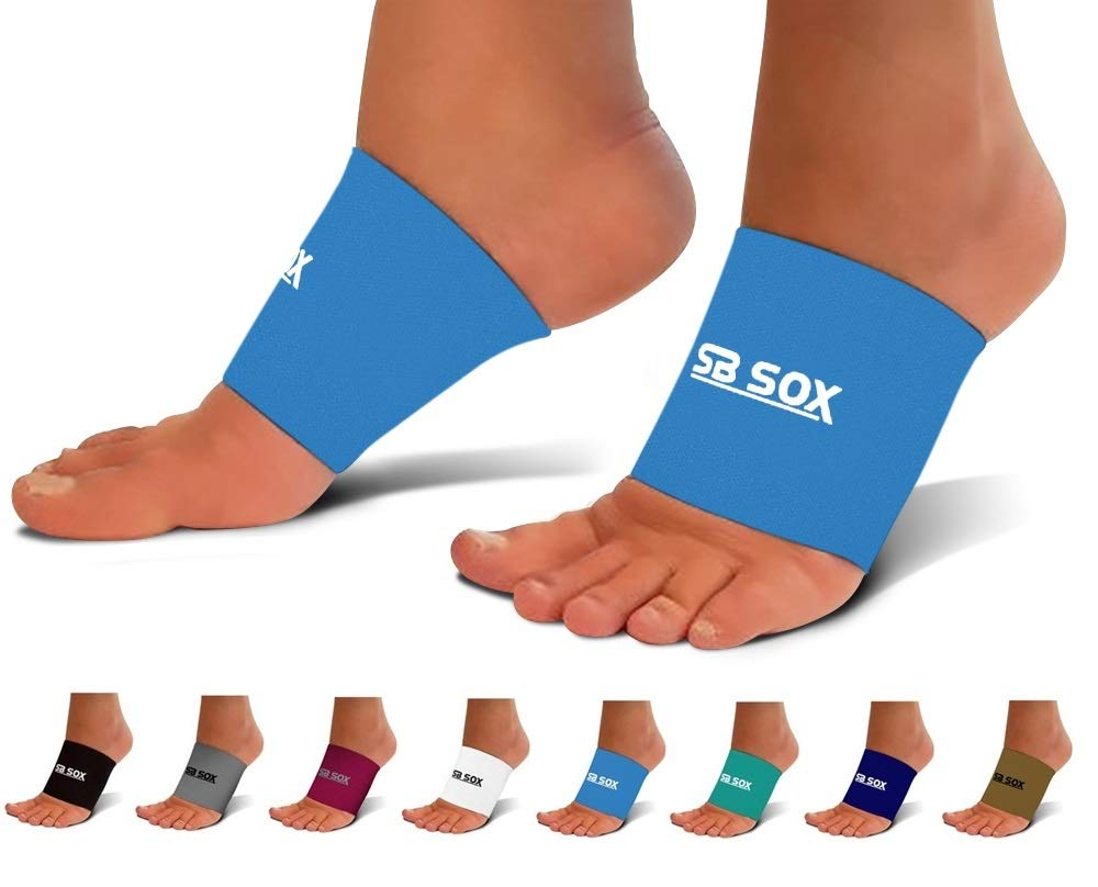 SB SOX Compression Arch Sleeves for Men & Women - Perfect Option to Our Plantar Fasciitis Socks - for Plantar Fasciitis Pain Relief and Treatment for Everyday Use with Arch Support (Blue, Large) by SB SOX