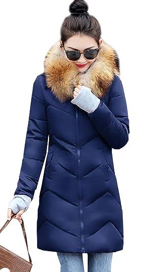 Leeharu Manteau Chaud Doudoune Femme Veste Capuche Fourrure Faux Long Hiver Jacket Blouson Causal Marron