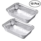 OUNONA Aluminium Foil Food Containers Trays Barbecue Drip Pans Disposable - 10 Pieces