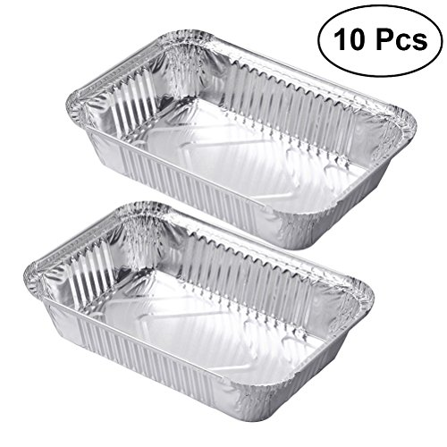 OUNONA Aluminium Foil Food Containers Trays Barbecue Drip Pans Disposable - 10 Pieces by OUNONA