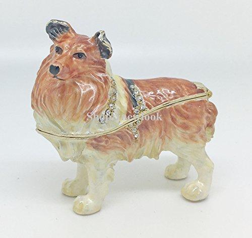 - znewlook Dog Figurine Jeweled Handmade Trinket Box Animal Metal Dog Display Box