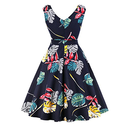 Hepburn Floral Dress Retro Prom Dresses Women Vintage for Blue3 Printed 1950s GAESHOW Navy Cocktail Sleeveless qFCBf