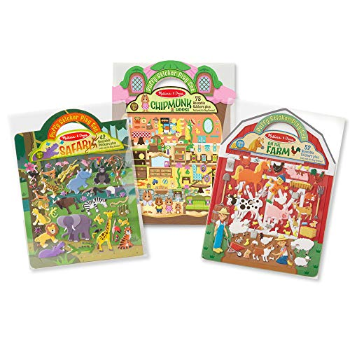 Melissa & Doug Puffy Sticker Play Set 3-Pack, Safari, Chipmunk, Farm Reusable Sticker Activity Pads (Double-Sided Background, Great Gift for Girls and Boys - Best for 4, 5, 6, 7 and 8 Year Olds)