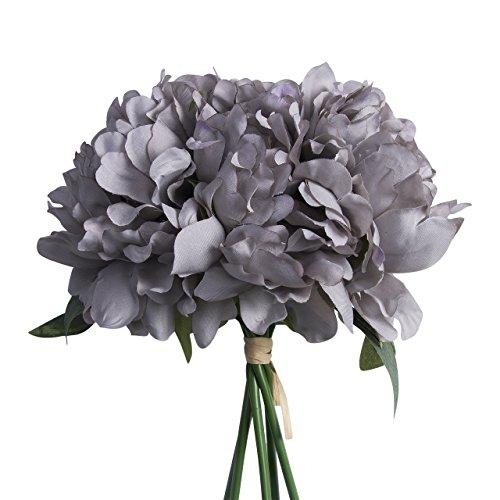 Cathery Artificial Fake Peony Silk Flower Bridal Hydrangea Home Wedding Garden Decor (Grey)