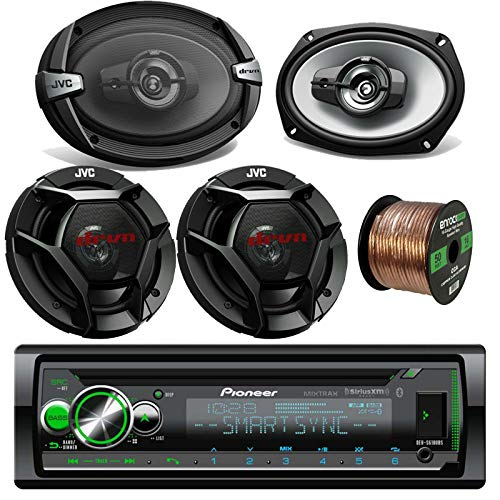 Pioneer Car CD Player Receiver Bluetooth USB AUX Radio - Bundle Combo with 2X 6x9 3-Way Vehicle Coaxial Speakers + 2X 6.5 Inch 2-Way Audio Speakers + Enrock 50 Ft 16G Speaker Wire