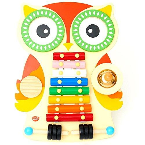 Musiktisch aus Holz, musikcenter mit Glockenspiel / Xylophon, 2 Trommeln, Guiro und Cymbal mit 2 Klopfer. Design Eulen. 18 Monaten +