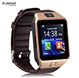 Bluetooth Smart Watch with Camera, Aosmart DZ09 Smartwatch for Android Smartphones (Gold)