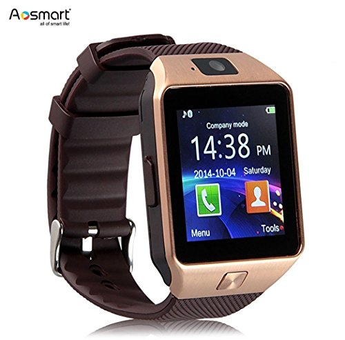 Aosmart Bluetooth Smart Watch with Camera, DZ09 Smartwatch for Android Smartphones - Gold
