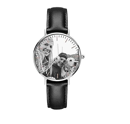 Reloj personalizado con foto reloj de pulsera de cuero para hombres/mujeres amantes de regalo: Amazon.es: Relojes