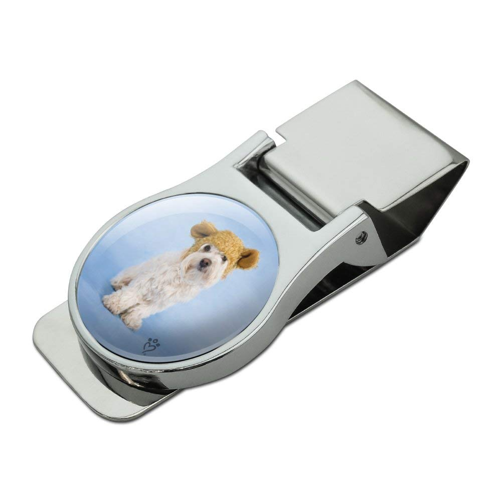 Bichon Maltese Puppy Dog Wearing Bear Hat Satin Chrome Plated Metal Money Clip