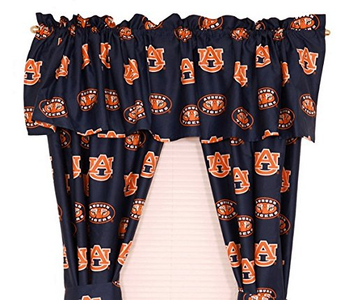 Auburn Tigers - Set of (2) Printed Curtain Valance/Drape Sets (Drape Length 63'') To Decorate Two Windows - Save Big By Bundling! by College Covers