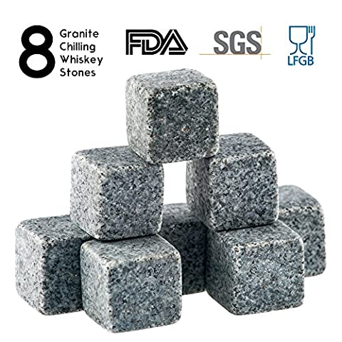 Whiskey Stones Gift Set - 8 Granite Chilling Whisky Rocks – 2 Crystal Shot Glasses in Wooden Box – Premium Bar Accessories for the Best Tasting Beverages by BROTEC