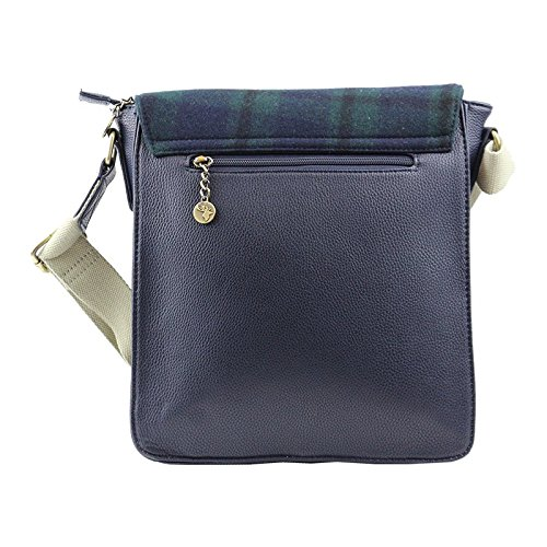 Blue Check Messenger Green Tweed Bag xvHqwcg