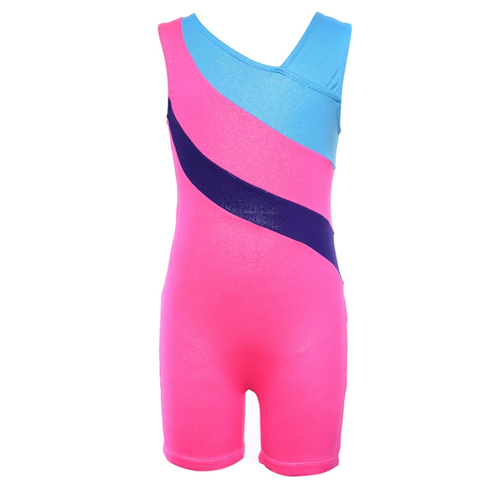 Kokkn Girls One-piece Colorful Ribbons Gymnastic Leotards Sleeveless Dance Leotards (Pink, 5-6 years old) by Kokkn