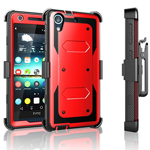 626 Series - HTC Desire 626 Case, Desire 626S Case, Tekcoo [TShell Series] [Red] Shock Absorbing [Built-in Screen Protector] Holster Locking Belt Clip Defender Heavy Case Cover For HTC Desire 626S/626