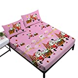 Oliven Cartoon Sheets Queen Size Christmas Fitted Sheet Flat Sheet Pink Girls Gift 4 Pieces Home Decor