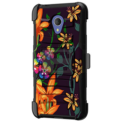 TurtleArmor | Compatible with Alcatel 1X Evolve Case | IdealXtra Case | TCL LX Case [Hyper Shock] Fitted Armor Holster Belt Clip Hybrid Cover Stand Shock Protective Case - Flower 4 (Iphone 4g Flowers)