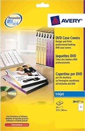 Avery J8437 25 Dvd Case Inserts 1 Label Per A4 Sheet Amazon