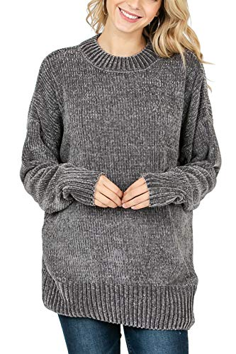 Vialumi Women's Solid Round Neck Long Sleeve Chenille Sweater Ash Grey Medium