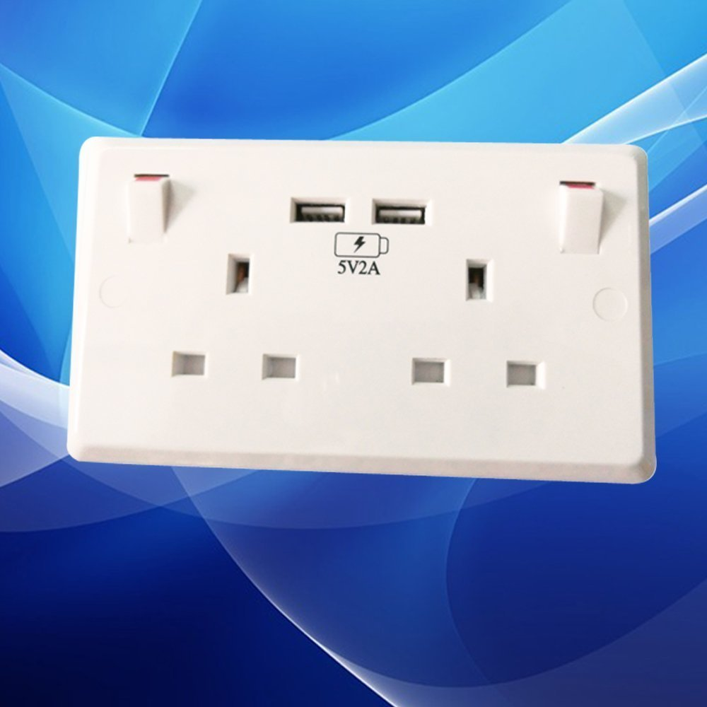2 Way Mains Power Socket With USB Charging Ports Connection Wall Plate Plug UK