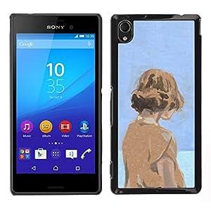 "For Sony Xperia M4 Aqua Case , Acuarela Azul Naranja Chica profundo Sad"" - Diseño Patrón Teléfono Caso Cubierta Case Bumper Duro Protección Case Cover Funda"