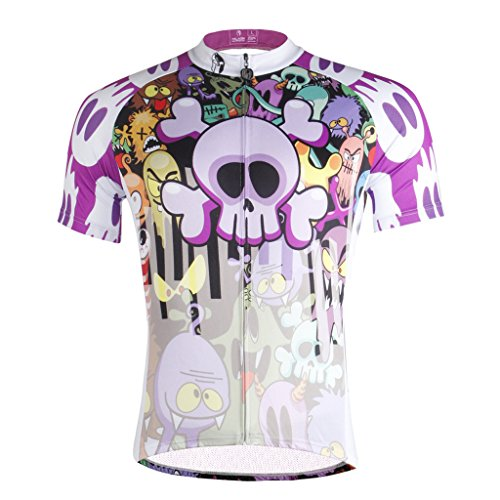 Paladinsport Skull Pattern Mens White Short Sleeve Cycling Apparel Size XL