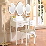 white makeup vanity table with drawers Mecor Vanity Makeup Table Set 7 Drawers Dressing Table with Stool White