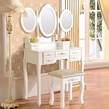 Elegance Vanity Table Set 3 Folding Mirror Dressing Table With Padded Stool  U0026 7 Drawers,