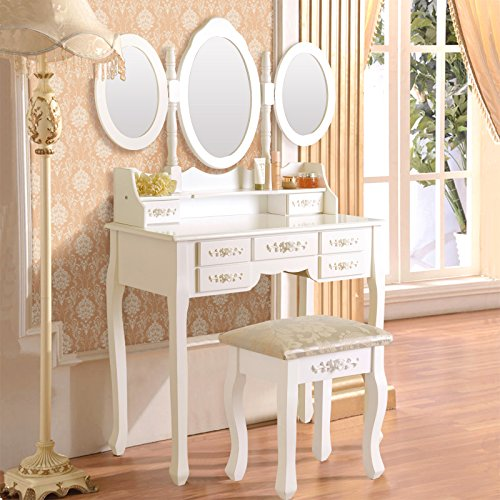 Elegance Vanity Table Set 3 Folding Mirror Dressing Table with Padded Stool & 7 Drawers, White by Elegance