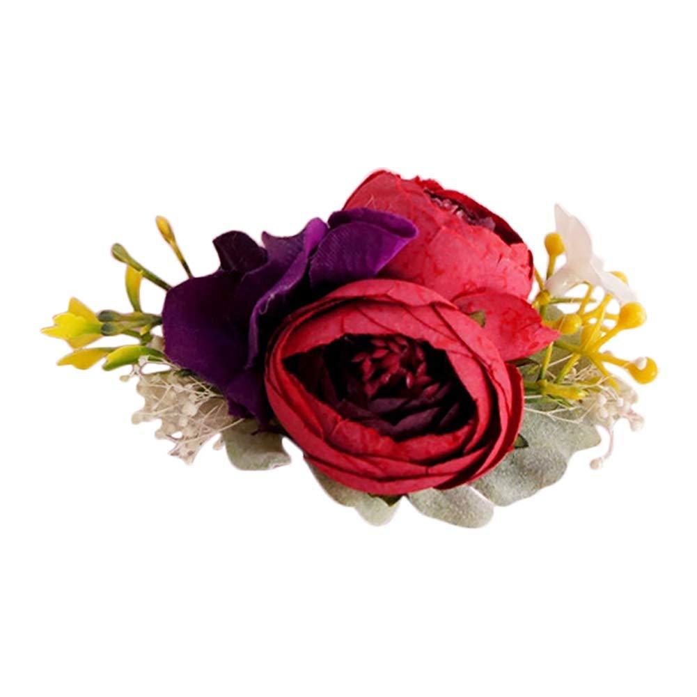 Yevison 1X Flower Wrist Corsage Wedding Bridesmaid Wrist Corsage Flower Stretch Bracelet Hand Flower Wedding Prom Party Decor Practical